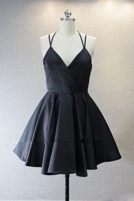 Lovely Short Straps Halter Homecoming Dresses, Navy Blue Summer Dresses, Women Dresses in Stock