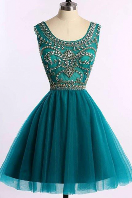 Dark Green Beaded and Tulle Round Neckline Homecoming Dresses, Short Prom Dresses, Dark Green