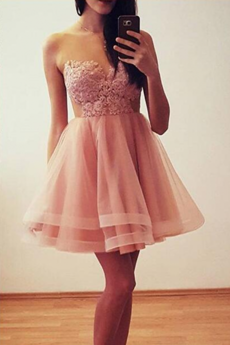 High Quality Pink Lace Applique Knee Length Prom Dresses, Cute Formal Dresses, Pink Homecoming Dresses
