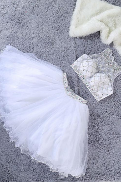 SLovely White Two Piece Beaded Tulle Prom Dresses, Short Prom Dresses, Homecoming Dresses