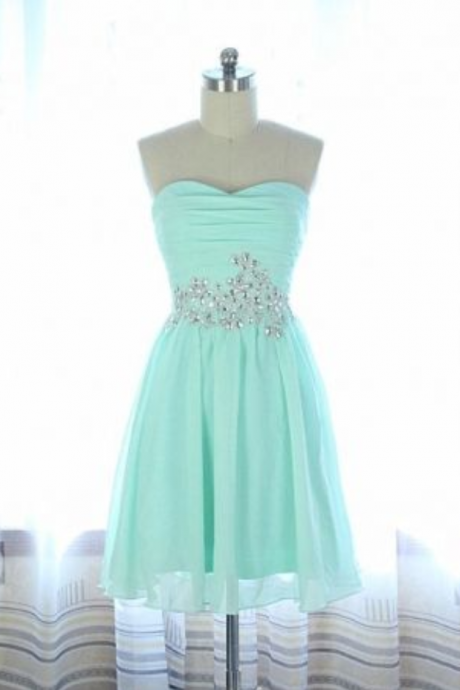 Handmade Simple and Cute Chiffon Sweetheart Prom Dresses, Short Prom Dresses, Prom Dresses , Homecoming Dresses, Graduation Dresses