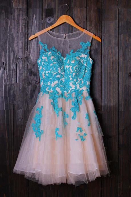 Cute and Lovely Short Tulle Prom Dresses with Applieuqe, Short Prom Dresses, Prom Dresses , Homecoming Dresses