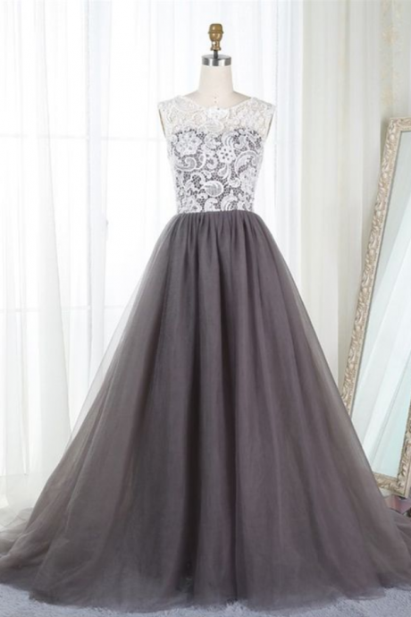 Grey Tulle and Lace Junior Prom Dresses, Ball Gowns, Elegant Evening Gowns
