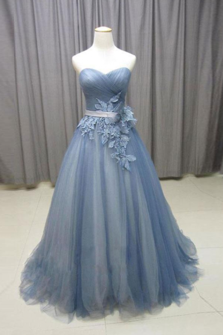 Gorgeous A-Line Sweetheart Gray Blue Tulle Lace Long Prom Dress with Appliques, Vintage Style Formal Dresses, Prom Dresses