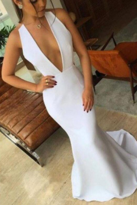 Simple White Mermaid Long V-neckline Formal Dresses, Evening Gowns, Prom Dresses