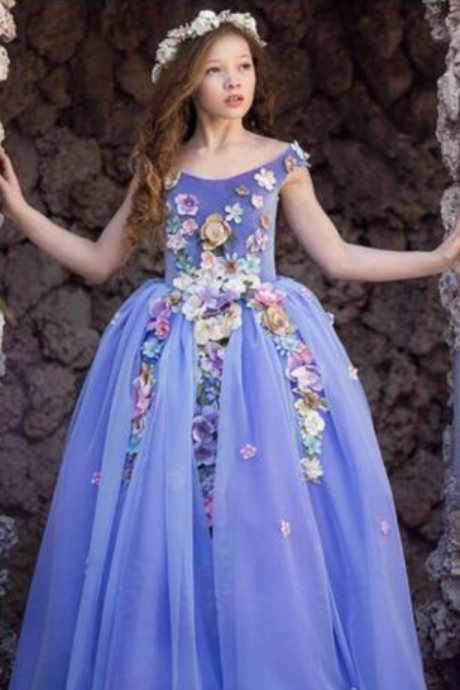 Pale Purple Flower Girls Dress For Weddings Off Shoulder Colorful 3D Hand Made Flowers Girls Pageant Dresses 2018 New Arrival Birthday Dress