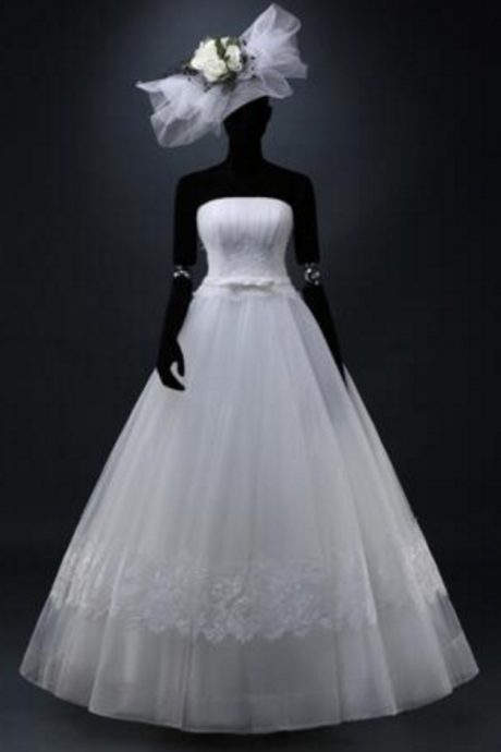 Exclusive Custom Real Picture Elegant Noble Strapless Backless Appliques Lace Bow Organza A-Line Wedding Dresses