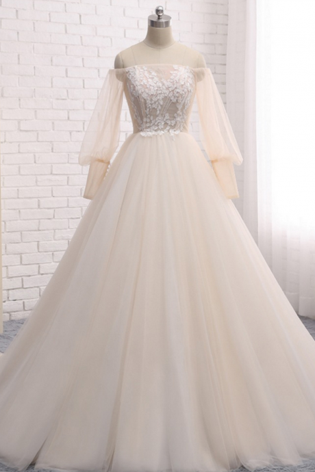 Long Wedding Dress, Long Sleeve Wedding Dress, Tulle Wedding Dress, Off Shoulder Bridal Dress, Charming Wedding Dress, Applique Bridal Dress, High Quality Wedding Dress,