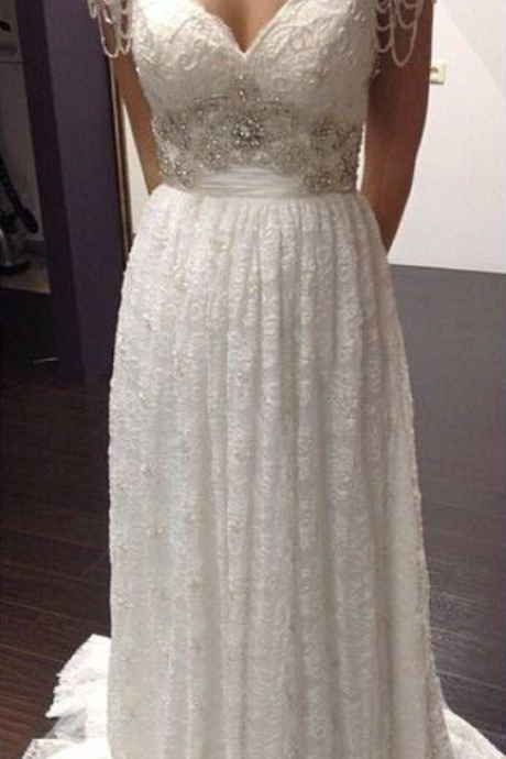 White/Ivory Beading Lace Bridal Gowns Custom Made A-Line Lace Wedding Dresses