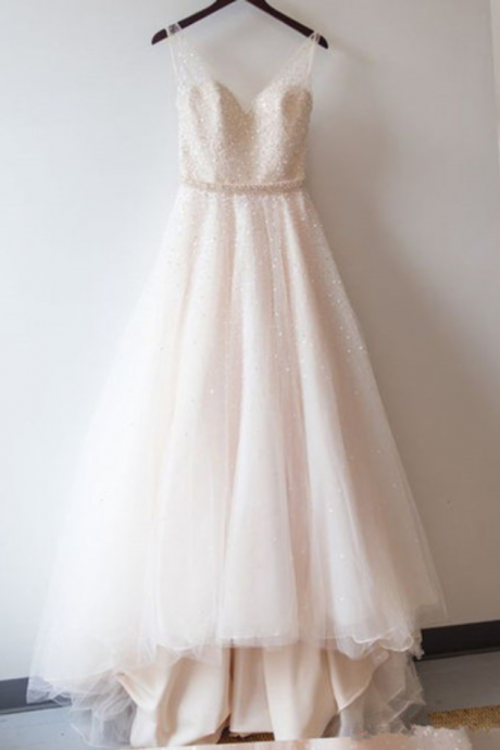 Beaded Embellished Plunge V Sleeveless Floor Length Tulle Wedding Gown