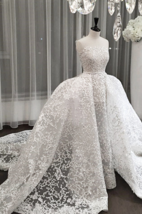 Strapless Beaded Ballgown Wedding Dress with Long Train