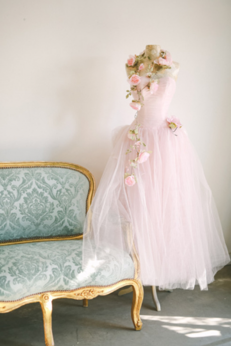 Pink Tulle Sweetheart Floor Length Wedding Gown