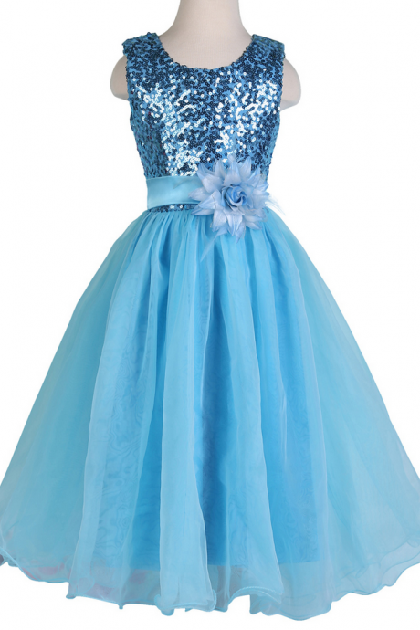 Flower Girl Dresses children party dress,girl dress,kids dress,cheap girl dresses,custom flower girl dress,girl party dress,girl homecoming dresses,bridesmaid dresses 2015 flower girl dresses Blue Sleeveless Sequined Flower Girl Princess Bridesmaid Wedding Pageant Party Dress