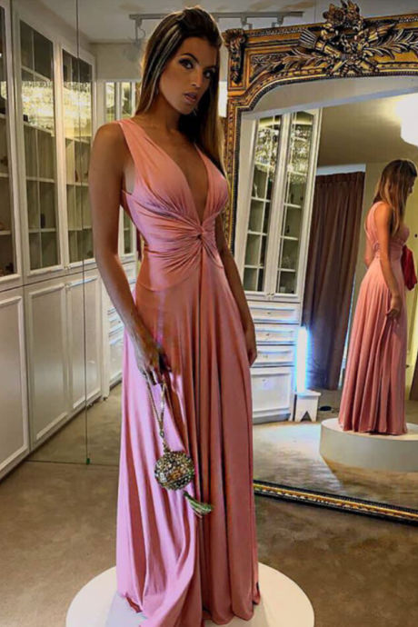 V Neck Bridesmaid Dress,Pink Bridesmaid Dress,Chiffon Prom Dress,Long Evening Gowns
