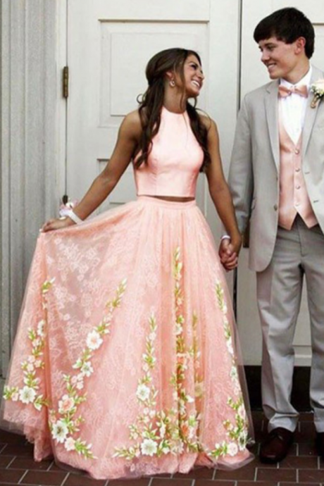 Pink lace appliques two pieces long prom dress for teens, A-line bridal dress