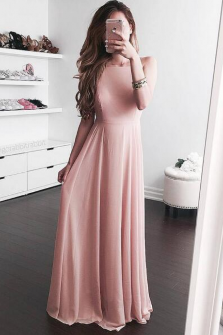 Blush Open Back Evening Dress, Pink Chiffon Prom Dress,Long Chiffon Evening Dress,Maxi Dresses,Simple Evening Dresses, Woman Dress