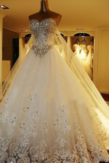 Amazing Luxury Wedding Gowns Bride Dresses Crystals Cathedral Wedding Dresses Free Veil Dresses for Wedding 2018, Wedding Dress