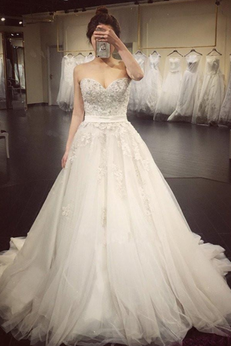 A Line Lace Crystal Wedding Gowns,A line Wedding Dresses Luxurious Long Custom Wedding Gowns,Affordable Bridal Dresses,Plus Size Wedding Dress,Wedding Dresses
