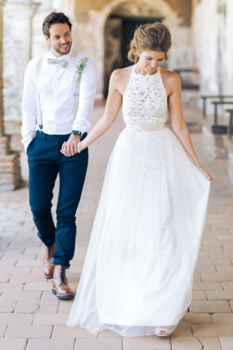 Simple Jewel Sleeveless Wedding Dress,Tulle Lace Top Wedding Dress,Lace Tulle Beach Wedding Dress,Sleeveless Backless Wedding Gown,Wedding Dresses