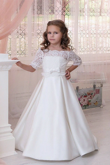 32559a52514 Off-the-Shoulder Lace A-line Flower Girl Dress with Mid-Length