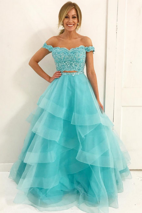 Off Shoulder Two piece Blue Long Prom Dress,Prom Dresses,Evening Dress, Prom Gowns, Formal Women Dress,prom dress