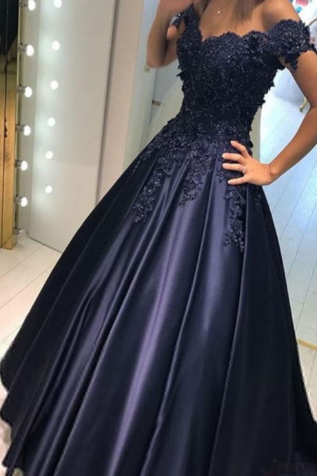 Navy Blue Prom Dresses,Long Prom Dresses,Evening Dresses,Satin Prom Dresses,Lace Prom Dresses,Modest Prom Dresses,Pretty Prom Dress,Prom Dresses Prom Gowns,Prom Dresses For Teens,Evening Dresses