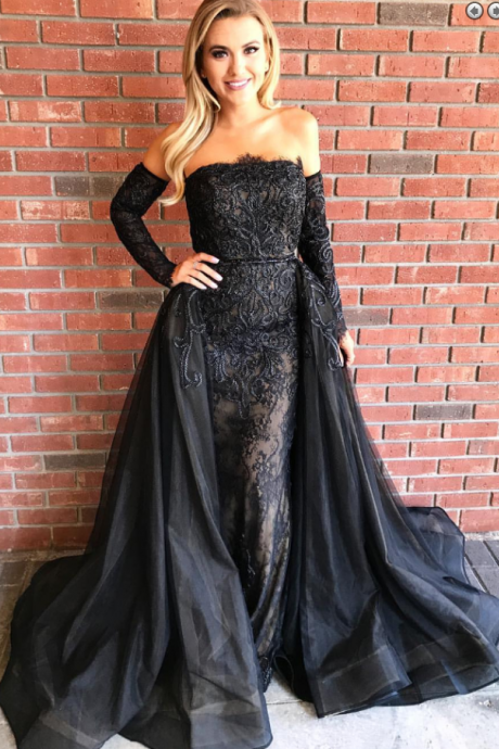 Sheath Strapless Black Tulle Prom Dress with Lace Appliques Detachable Train