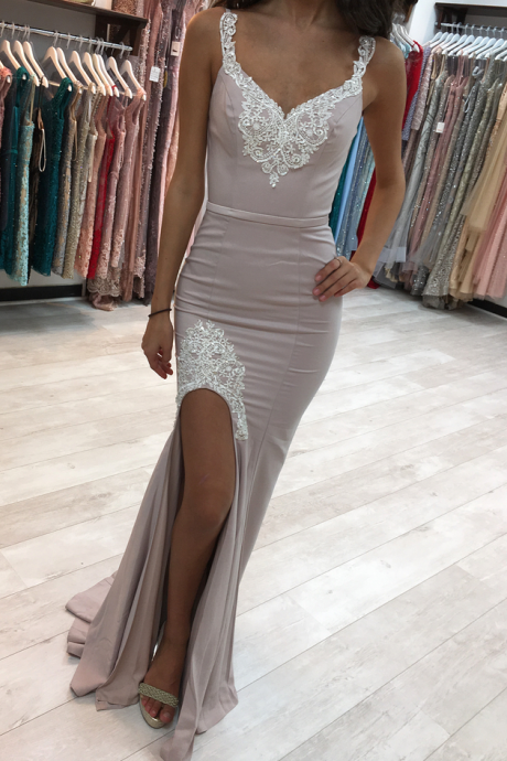 Split Side Evening Party Dress, Sexy Mermaid Prom Dress, Appliques Formal Dress