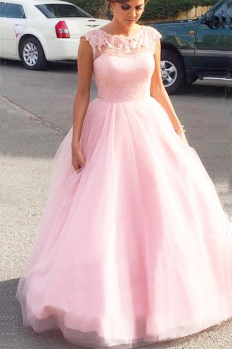 Pink Tulle Ball Prom Dresses Long Evening Dresses Sleevless Formal Gowns Appliques Party Graduation Pageant Dresses