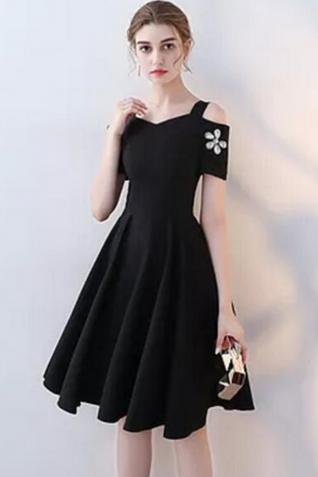 Simple Black Straps Beaded Short Prom Dress with Sleeves,A-Line Short Party Dress