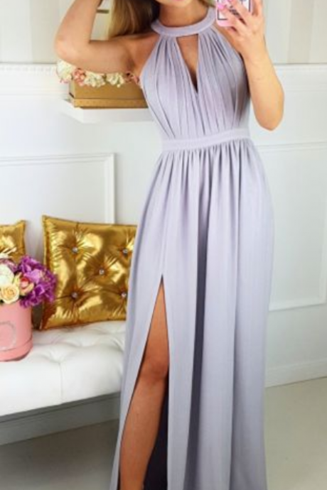 Sexy Slit Prom Dress,Halter Neckline Party Dress,Sexy Keyhole Back Formal Dress,Grey Graduation Dress
