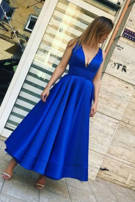 Simple royal blue v neck prom dress,tea length evening dress