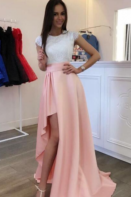Simple A-Line Cap Sleeves Pink Prom Dress,Lace High Low Homecoming Dress
