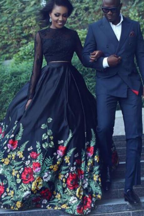 2 Piece Prom Dresses, 2018 Prom Dresses, Black Prom Dress,Sexy Prom Dress, Long Sleeve Prom Dress