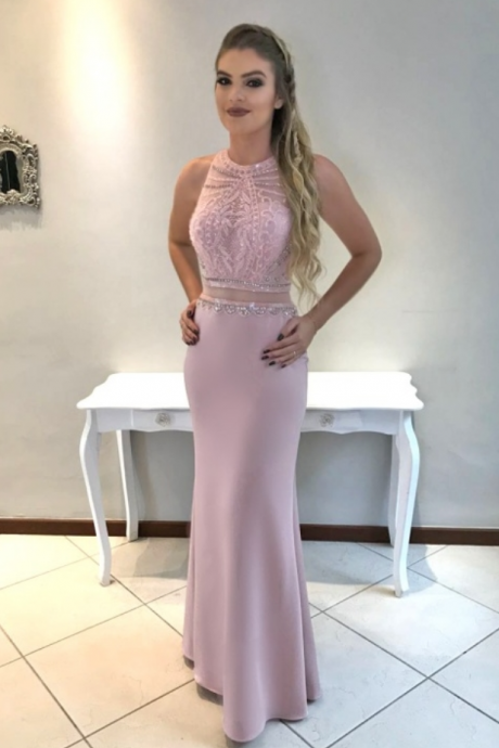 Meat pink with two ball gowns, sleeveless chiffon evening gowns
