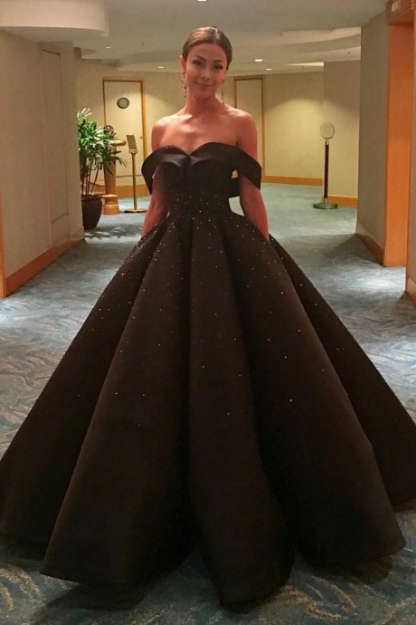 Prom Dress, Black Prom Dress, Beading Prom Dress, A-line Prom Dress, Long Prom Dress, Off-the-shoulder Prom Dress