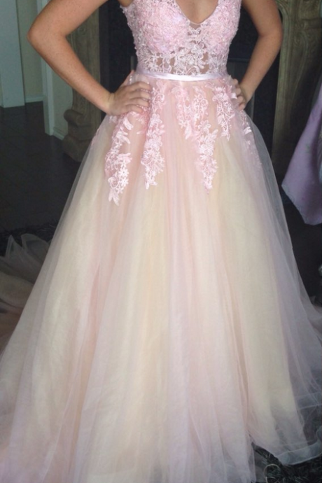 Prom Dress, Sleeveless Prom Dress, Lace Appliques Prom Dress, Backless Prom Dress, A-line Prom Dress, Long Prom Dress