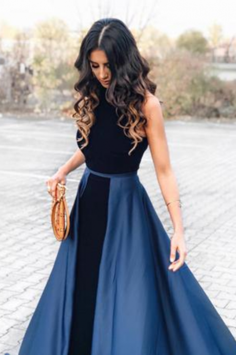 New Arrival Navy Blue Long Velvet Prom Dress,Sleeveless Evening Dresses,Open Back Prom Dress