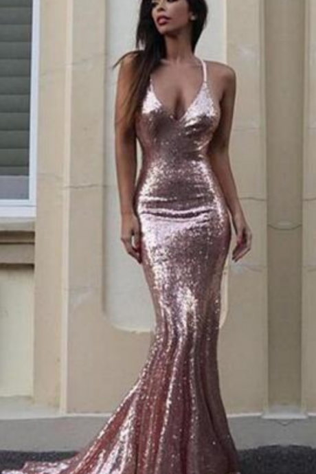 Gorgeous Mermaid V-Neck Prom Dress Light Pink Sequins Empire Sweep Train Evening Gown Reception Dresses