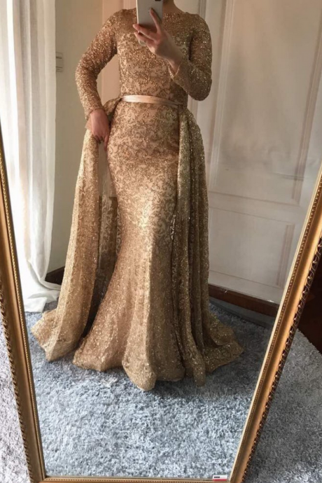 Mermaid Luxury Evening Dress Long Sleeves Gliter with train Gold Evening Gowns