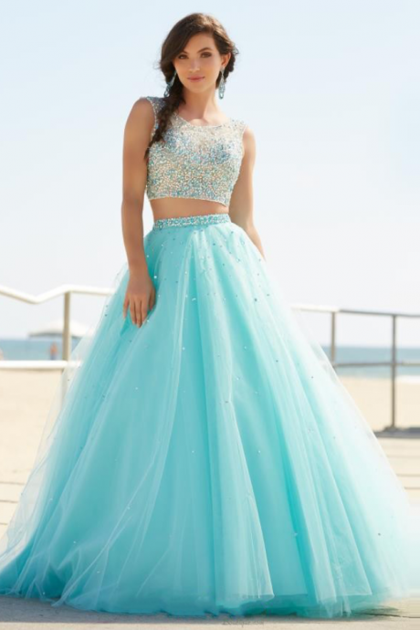 2 Pieces Prom Dresses,O-Neck Sleeveless A-Line Court Train Beading Tulle Long Evening Dress
