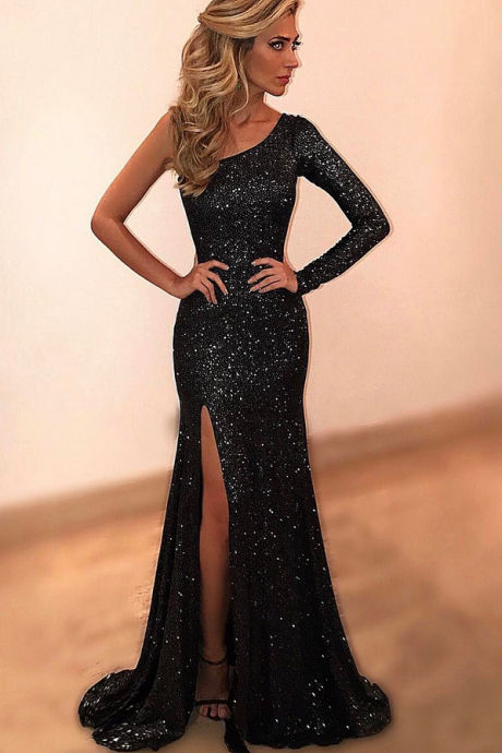 Cheap prom dresses Black Evening Dresses,One Shoulder Beads and Crystal Evening Party Dress
