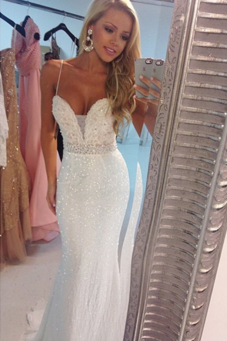 Cheap prom dresses Spaghetti Straps Mermaid Evening Dresses Sparkly Prom Gowns