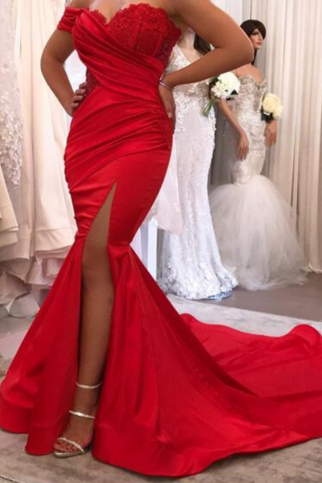 Cheap prom dresses Sexy Red Mermaid Satin Prom Dresses