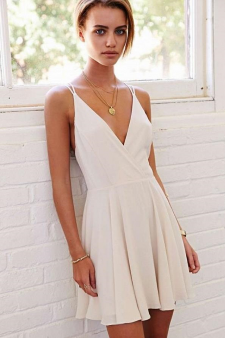 Cheap homecoming dresses White Chiffon Homecoming Dress, Simple Sexy Homecoming Dress