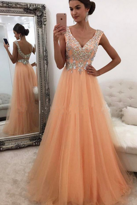 Elegant V Neck Tulle Prom Dress, A Line Prom Dresses, Long Evening Dress