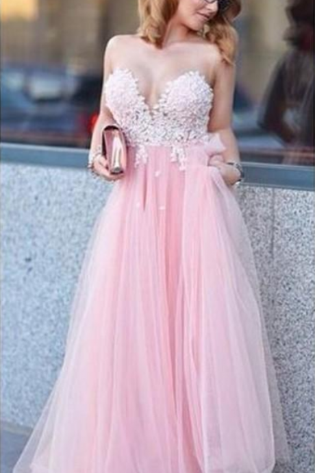 Sexy Backless Pink Prom Dresses,Long Tulle Vintage Sweetheart Prom Dress,Appliques A Line Party Dress, Cheap China Runway Gowns Prom Dress