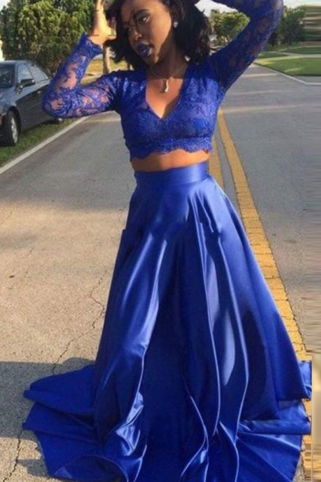Two Pieces Royal Blue Prom Dress, Long Sleeve Formal Evening Dresses, Sexy V Neck Pageant Party Dresses, Long Royal Blue Prom Dresses