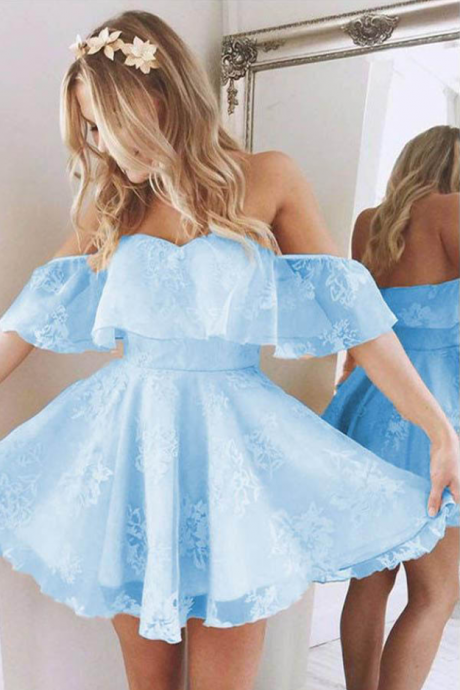 Short Homecoming Dresses,A Line Sweetheart Homecoming Dress,Ruffles Homecoming Dresses,Off Shoulder Prom Dress,Cute Homecoming Dresses,Lace Homecoming Dresses,Blue Homecoming Dress