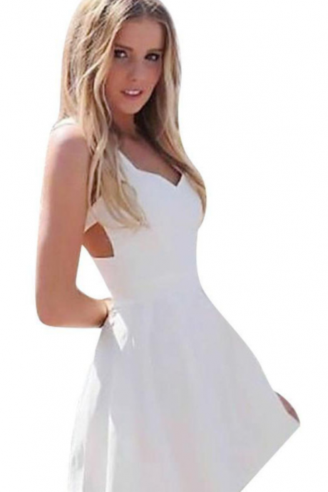 Crew Homecoming Dress,White Homecoming Dress,Short Prom Dresses,A line Homecoming Dress,Cap Sleeves Homecoming Dresses,Appliques Homecoming Dresses,Ball Gown Homecoming Dress